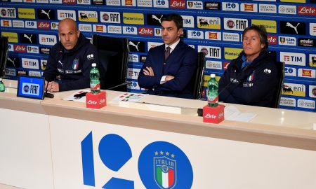 FLORENCE, ITALY - MARCH 19:  (L-R) Head coach Italy Luigi Di Biagio, FIGC Vice Commissioner Alessandro Costacurta and Italy Team Manager Gabriele Oriali speak to the media during a press conference at Centro Tecnico Federale di Coverciano on March 19, 2018 in Florence, Italy.  (Photo by Claudio Villa/Getty Images) *** Local Caption *** Luigi Di Biagio; Alessandro Costacurta; Gabriele Oriali